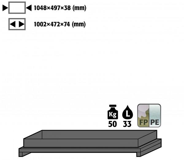 Wannenboden Standard metallfrei (Volumen: 33,00 Liter) für Modell(e): Q90, S90 mit Breite 1200 mm, Polypropylen roh