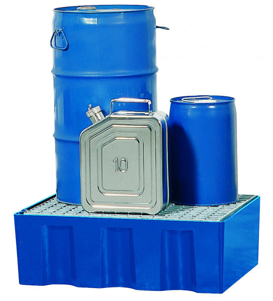 Auffangwanne PE-LD mit verzinktem Gitterrost 725x525x235, Polyethylen (low density)