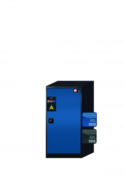 Chemikalienschrank CS-CLASSIC Modell CS.110.054.R in enzianblau RAL 5010 mit 2x Tablarauszug AbZ (Stahlblech/Polypropylen)
