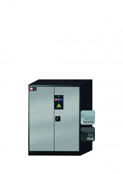 Chemikalienschrank CS-CLASSIC Modell CS.110.081 in asecos Silber mit 3x Tablarauszug AbZ (Stahlblech/Polypropylen)