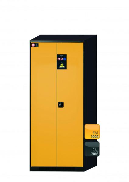 Chemikalienschrank CS-CLASSIC Modell CS.195.081 in sicherheitsgelb RAL 1004 mit 6x Tablarauszug AbZ (Stahlblech/Polypropylen)