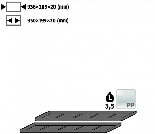 Einlegewanne für 2. Auszugs-Ebene (VE 1, empf. Ausstattung 2 Stück) (Volumen: 3,50 Liter) für Modell(e): UB90, UB30 mit Breite 1100 mm, Polyethylen roh