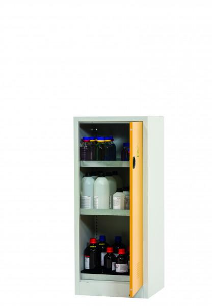 Chemikalienschrank CF-CLASSIC Modell CF.140.060.R:0005 in sicherheitsgelb RAL 1004 mit 3x Wannenboden Standard (Stahlblech), Stahlblech pulverbeschichtet glatt
