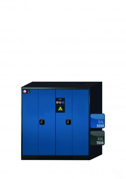 Chemikalienschrank CS-PHOENIX Modell CS.110.105.FD in enzianblau RAL 5010 mit 2x Tablarauszug AbZ (Stahlblech/Polypropylen)