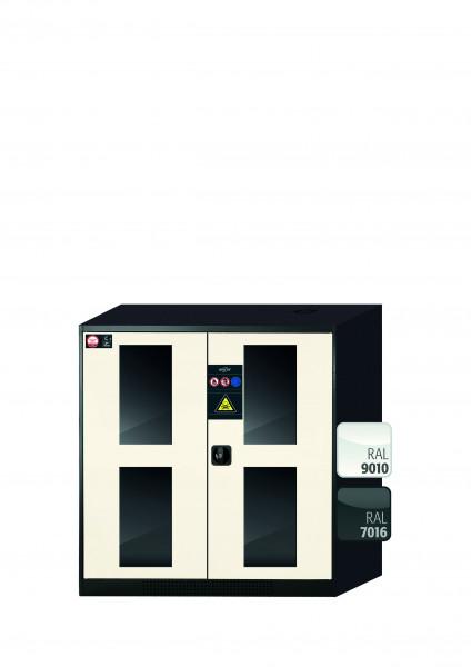 Chemikalienschrank CS-CLASSIC-G Modell CS.110.105.WDFW in reinweiss RAL 9010 mit 2x Tablarauszug AbZ (Stahlblech/Polypropylen)