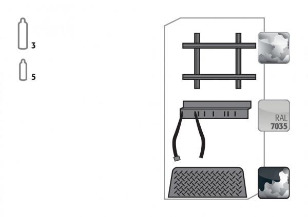 Standardinneneinrichtung Druckgasflaschen für Modell(e): G30 mit Breite 900 mm, Stahlblech verzinkt und pulverbeschichtet