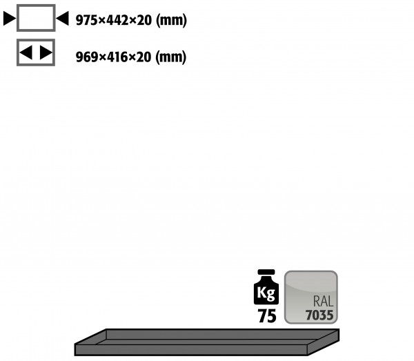 Fachboden Standard für Modell(e): UB90, UB30 mit Breite 1100 mm, Stahlblech pulverbeschichtet glatt