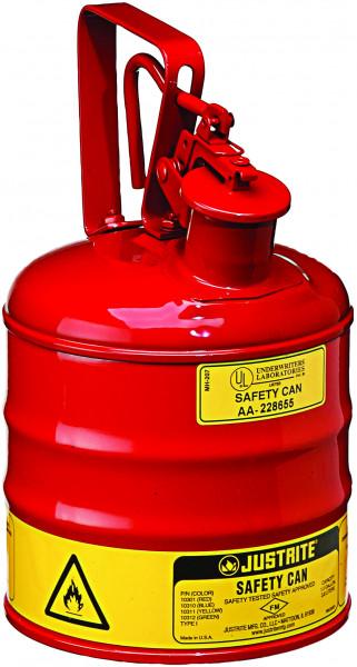 Sicherheitsbehälter Stahlblech pulverbeschichtet Rot, Inhalt: 4 Liter, Stahlblech pulverbeschichtet glatt