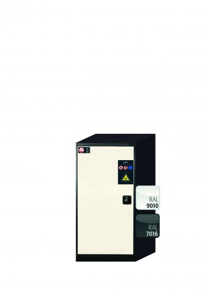 Chemikalienschrank CS-CLASSIC Modell CS.110.054 in reinweiss RAL 9010 mit 3x Tablarauszug AbZ (Stahlblech/Polypropylen)