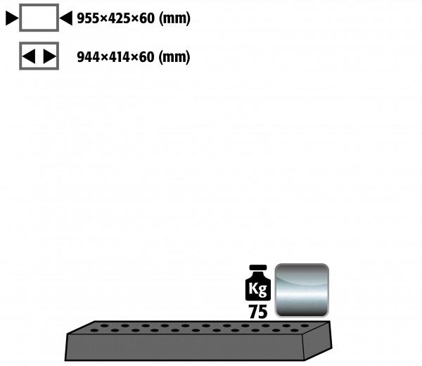 Lochblecheinsatz Standard für Modell(e): UB90, UB30 mit Breite 1100 mm, Edelstahl 1.4301 roh