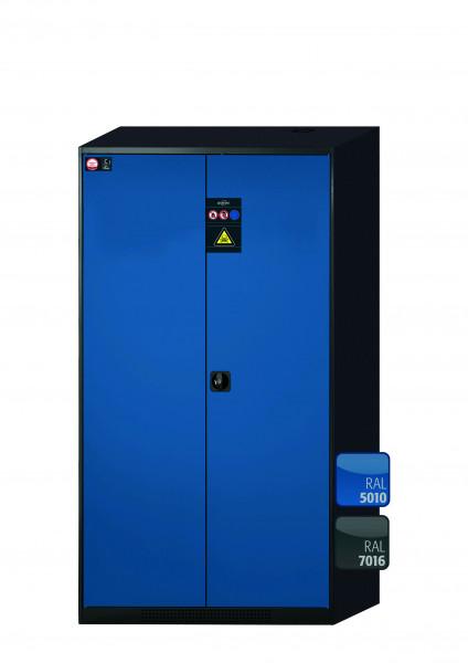 Chemikalienschrank CS-CLASSIC Modell CS.195.105 in enzianblau RAL 5010 mit 5x Tablarauszug AbZ (Stahlblech/Polypropylen)