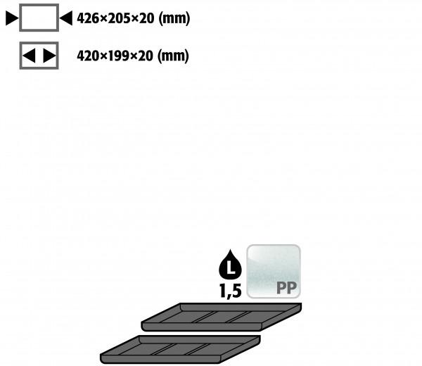 Einlegewanne für 2. Auszugs-Ebene (VE 1, empf. Ausstattung 2 Stück) (Volumen: 1,50 Liter) für Modell(e): UB90 mit Breite 590 mm, Polyethylen roh