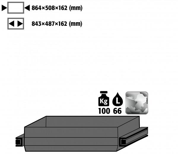Auszugswanne Schwerlast (Volumen: 66,00 Liter) für Modell(e): Q90, S90 mit Breite 1200 mm, Edelstahl 1.4301 roh