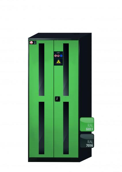 Chemikalienschrank CS-CLASSIC-G Modell CS.195.081.WDFW in resedagrün RAL 6011 mit 5x Tablarauszug AbZ (Stahlblech/Polypropylen)