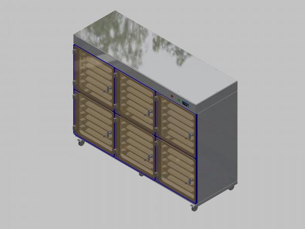 Trockenlagerschrank-ITN-1800-6 mit 6 Schubladen und Regelung der Schrankatmosphäre pro Schrank und Sockelausführung mit Rollen