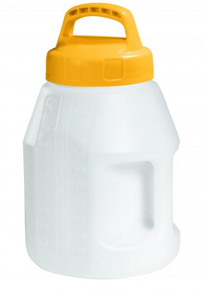 Öl-Kanne aus HDPE 5 Liter mit gelbem Lagerdeckel, Polyethylen (high density)