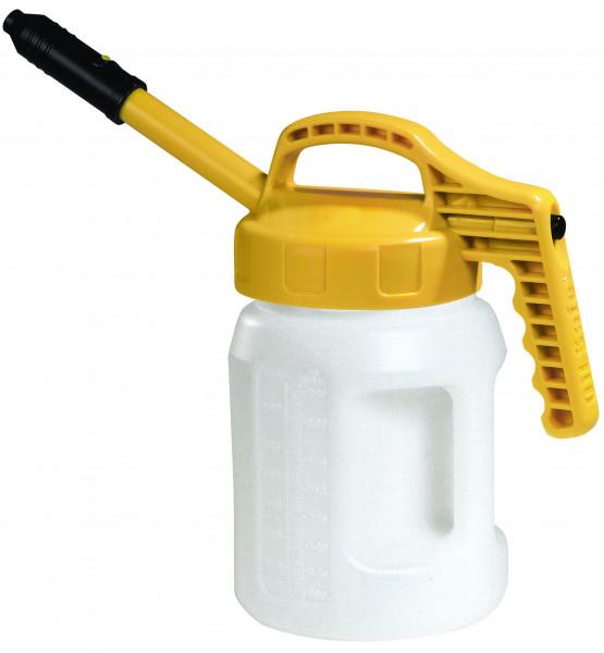 Öl-Kanne aus HDPE 2 Liter mit gelbem Deckel und langer Auslauftülle, Polyethylen (high density)