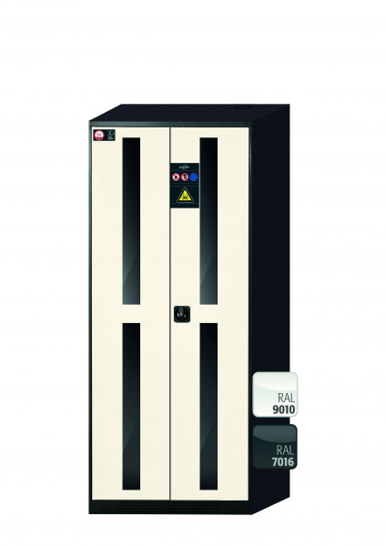 Chemikalienschrank CS-CLASSIC-G Modell CS.195.081.WDFW in reinweiss RAL 9010 mit 4x Tablarauszug AbZ (Stahlblech/Polypropylen)