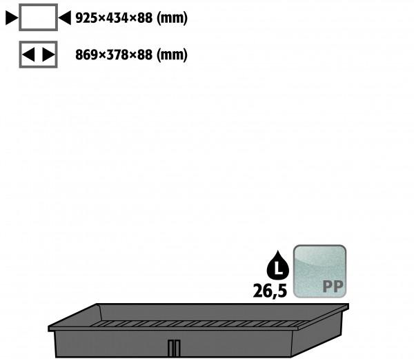 Einlegewanne (Volumen: 26,50 Liter) für Modell(e): UB90, UB30, E, EP, EM mit Breite 1100 mm, Polypropylen roh