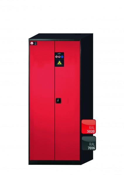 Chemikalienschrank CS-CLASSIC Modell CS.195.081 in verkehrsrot RAL 3020 mit 5x Tablarauszug AbZ (Stahlblech/Polypropylen)